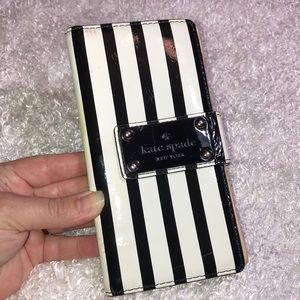 kate spade patent leather striped wallet